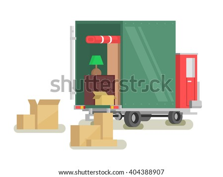 Moving furniture loading - stock vector