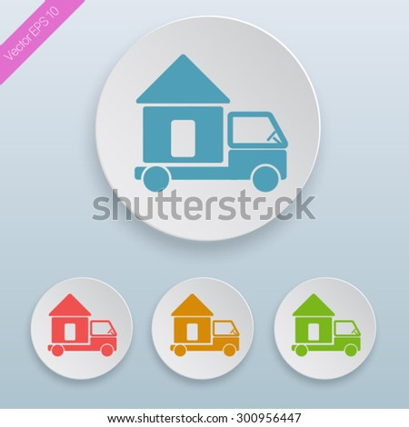 Moving home concept. A truck transporting a house. icon. - stock vector