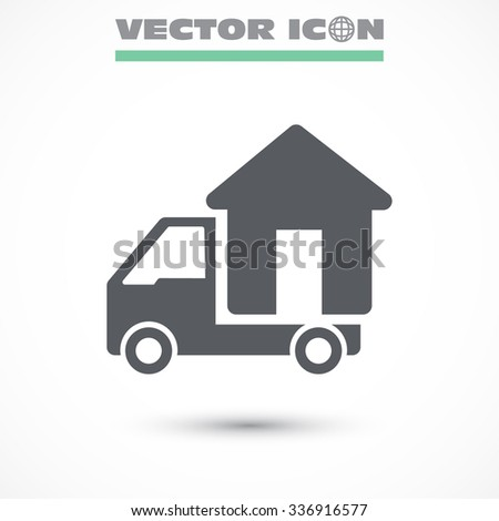 Moving home concept. A truck transporting a house, icon, vector. - stock vector