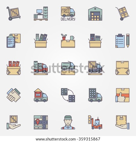 Moving icons set - vector concept colorful signs and symbols of house or office moving - stock vector