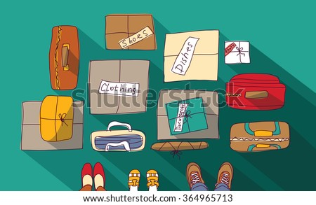 Moving passage luggage family things in boxes.  Color vector illustration. EPS8 - stock vector