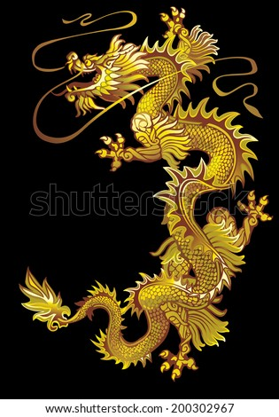 Moving up the golden oriental dragon on a black background - stock vector