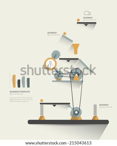 Moving working mechanism. Infographics robotic diagram. Vector illustration.  - stock vector