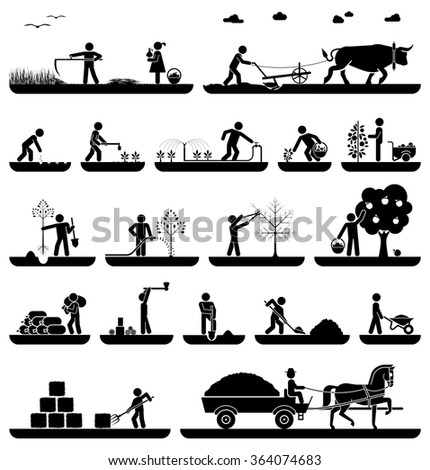 Mowing, plowing, planting, watering, pruning trees, digging, chopping wood, baling hay, collecting crops, transporting with horse drawn wagon. Agriculture icons. - stock vector