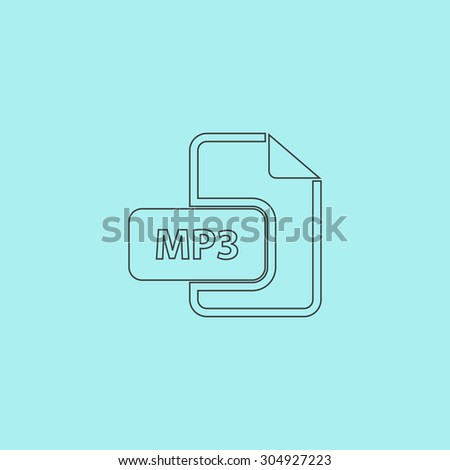 MP3 audio file extension. Simple outline flat vector icon isolated on blue background - stock vector