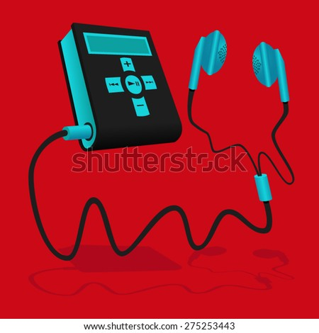 Mp3 player black blue with earphone - stock vector