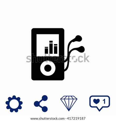 Mp3 player icon. Mp3 player icon vector. Mp3 player icon illustration. Mp3 player icon web. Mp3 player icon Eps10. Mp3 player icon image. Mp3 player icon logo. Mp3 player icon sign. - stock vector