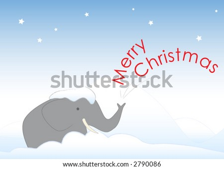 Mr. Elephant is stuck in the snow. He wishes you a Merry Christmas. He also wishes to be taken in from the cold and given a big drink of eggnog. - stock vector