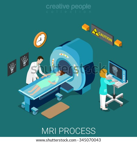 MRI process flat 3d isometry isometric hospital medical concept web vector illustration. Nuclear magnetic resonance imaging tomography room interior. Creative people collection. - stock vector