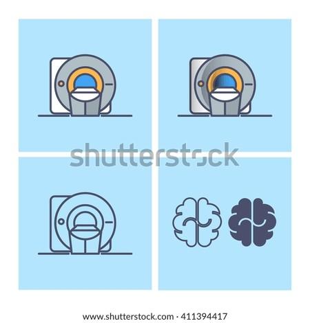 MRI scanner brain vector design  - stock vector