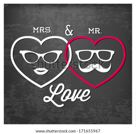 Mrs. and Mr. Love Vector Illustration in Vintage Style. Valentine's Day Background Template - stock vector