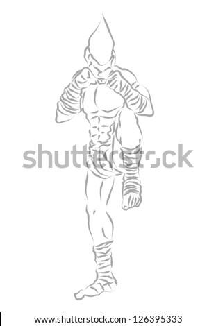 Muay Thai Boran :A guarded stance - stock vector