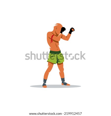 Muay Thai boxing sign. Thailand fighter man. Asia Martial Arts concept. Kickboxing sport. Branding Identity Corporate vector logo design template Isolated on a white background - stock vector