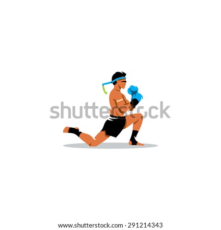 Muay Thai boxing sign. Thailand fighter man during the ritual on knees. Asia Martial Arts concept. Vector Illustration. Branding Identity Corporate logo design template Isolated on a white background - stock vector