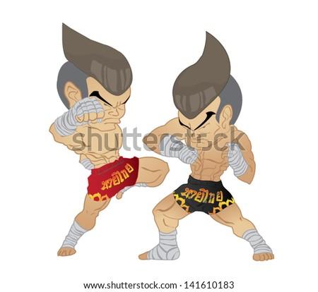 Muay thai Fighter :Knee Strike VS Elbow Strike - stock vector
