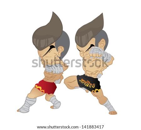 Muay Thai : reverse elbow VS Knee Strike - stock vector