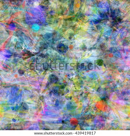 Muddy seamless grunge texture. Formless spots with sharp edges, like thorns or leaves. Stains, curved strips, wavy lines, stylized petals. Randomly mixed. Watercolor effect. - stock vector