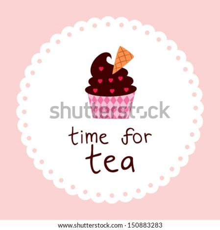 muffin tea time sticker - stock vector