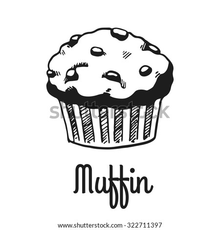 Muffin with chocolate. Isolated with the inscription. Graphic art. Hand drawing - stock vector