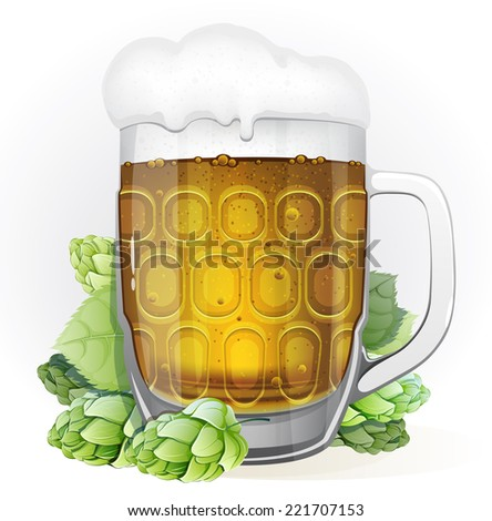 Mug of lager beer with a cap of foam and green hop cones with leaves on a white background - stock vector