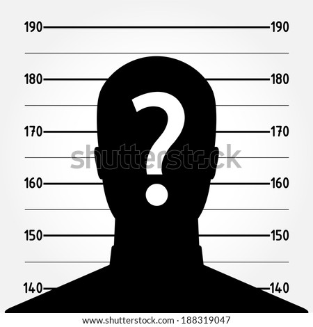 Mugshot or police lineup picture of anonymous man silhouette - suspect concept - stock vector