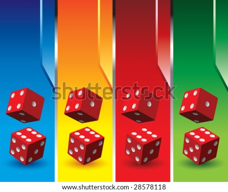multi color dice banners - stock vector