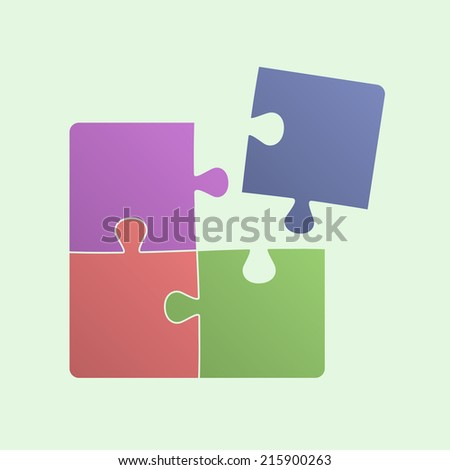 Multi colored puzzle. Square structure four pieces of puzzle. One piece is disconnected. Business concept, motivation, web design, media. Vector illustration, eps 8. - stock vector