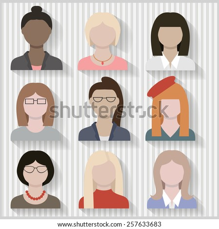 Multi Cultural Businesswomen and Girls Female Flat Icons with Shadows Layered and grouped  - stock vector