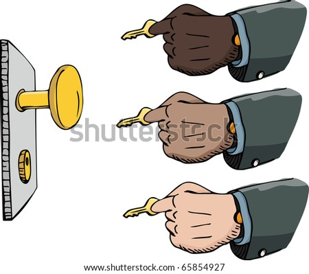 Multi-ethnic versions of a businessman's hand inserting a golden key into a lock. - stock vector