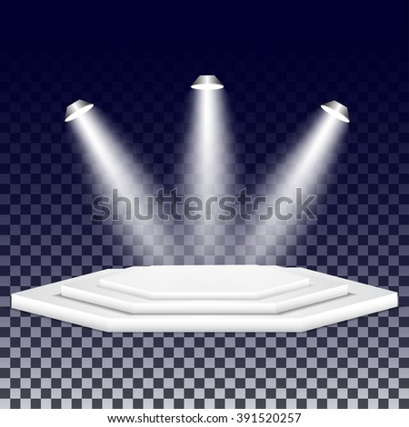 Multi-faceted podium with spotlights. Empty multi-faceted scene with floodlights. White multi-faceted stage with projectors. - stock vector