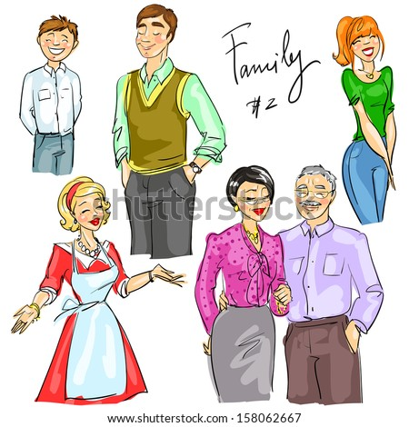 Multi generation family members isolated, set 2 - stock vector