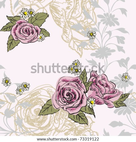Multi-level soft floral prints, hand-painted roses seamless pattern, vector - stock vector