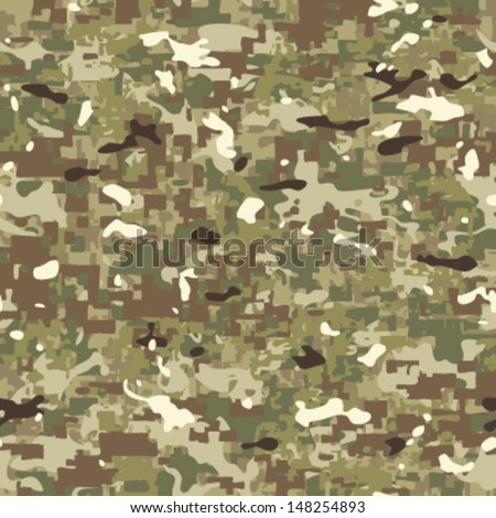 Multi Terrain Camouflage Seamless Background Pattern - stock vector