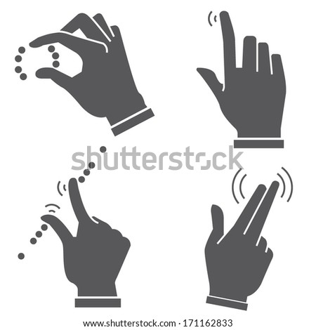 multi touch hand gesture set for smart device, touch screen - stock vector