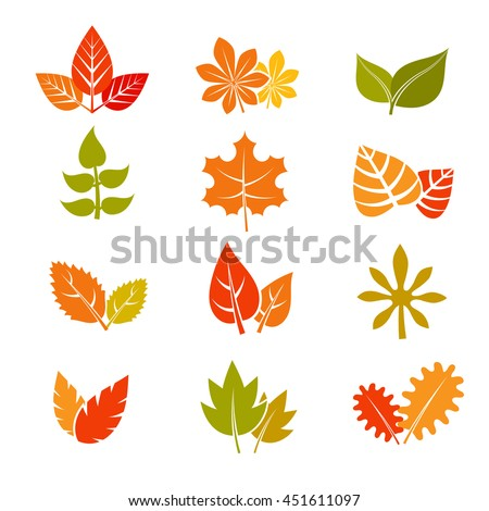 Multicolor autumn leaves flat vector icons. Fall feuille leaf collection. Set of autumn leaves, illustration maple leaf - stock vector