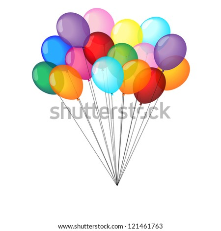 Multicolor balloons on white background - stock vector