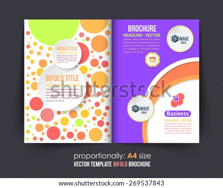Multicolor Elements Style Business Bi-Fold Brochure Design. Corporate Leaflet, Cover Template - stock vector