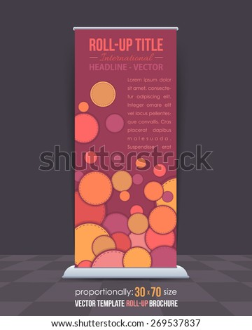 Multicolor Ellipse Elements Business Roll-Up Banner Design, Advertising Vector Template  - stock vector