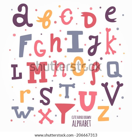 Multicolor hand drawn alphabet. Cute hand drawn letters for kids - stock vector
