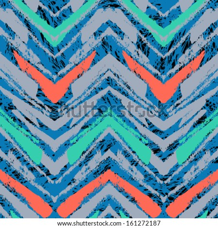 Multicolor hand drawn pattern with brushed zigzag line. Vector seamless texture for web, print, home decor, textile, wrapping paper, wallpaper, invitation card background, spring summer fashion fabric - stock vector