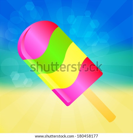 Multicolor Ice cream lolly on the abstract summer background with rays - stock vector