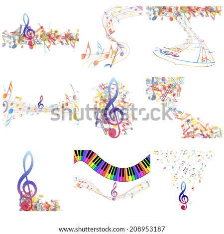 Multicolor  musical notes staff set. Vector illustration with transparency EPS10. - stock vector