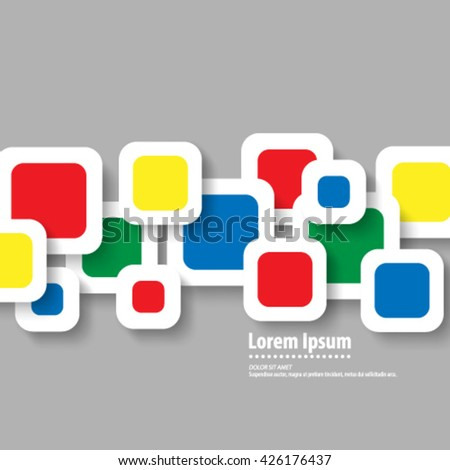 Multicolor Overlapping Squares Layout/Design Cover Background - stock vector