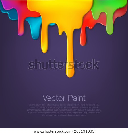 Multicolor paint dripping on background. Stylish acrylic liquid layered colorful painting concept. - stock vector