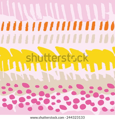 Multicolor painted seamless pattern. Abstract background with hand drawn dots and stripes. Vector graffiti lines background. Abstract multicolor texture. - stock vector