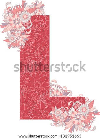 Multicolor patterned letter L with floral elements. Vector illustration - stock vector