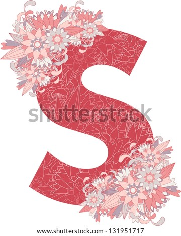 Multicolor patterned letter S with floral elements. Vector illustration - stock vector