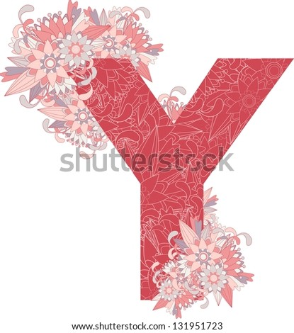 Multicolor patterned letter Y with floral elements. Vector illustration - stock vector