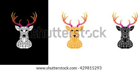 Multicolor polygon deer head. - stock vector