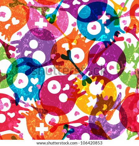 Multicolor seamless pattern with skulls and hearts on white background. EPS 10 vector illustration. Contains transparency effects. - stock vector